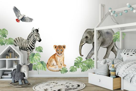 Xxl sticker set children's room, acuarela baby animals, wall