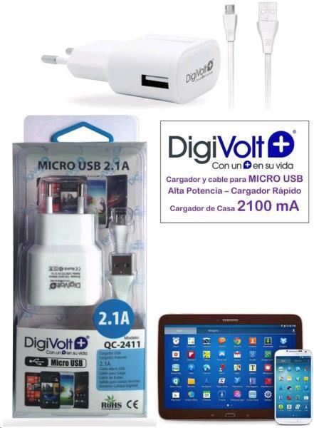 Cargador micro usb casa 2.1a digivolt qc