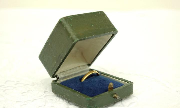 Caja de anillo de cuero verde oliva vintage, caja de anillo