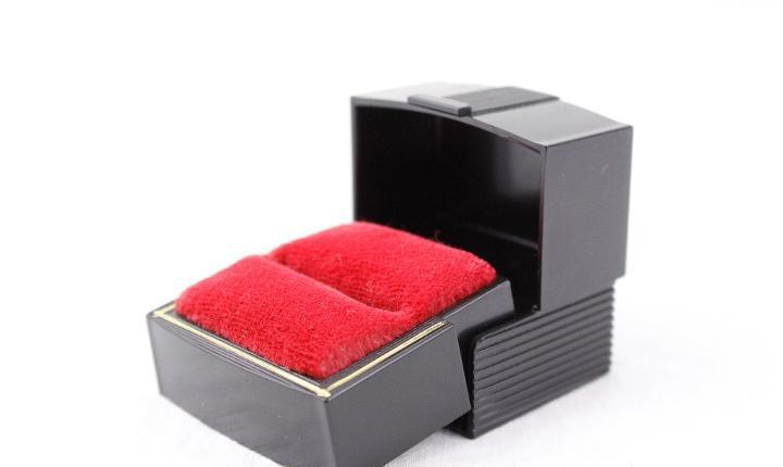 Caja de anillo negro vintage, joyero de plástico negro