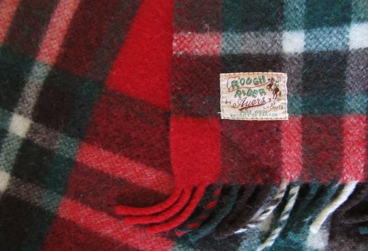 Manta de cuadros escoceses rojos vintage, rough rider de