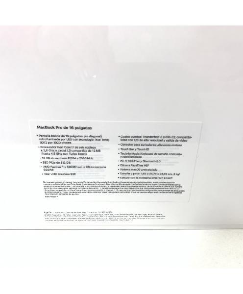 Apple macbook pro 16, i7, 16 gb, 512 gb ssd, amd radeon pro