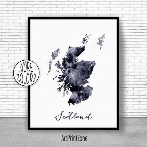 Escocia impresión acuarela mapa escocia mapa arte mapa