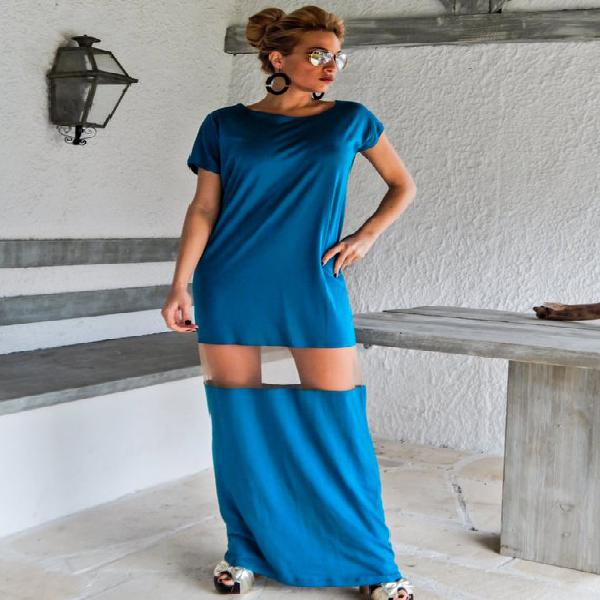 Gasolina maxi vestido kaftan con detalles de see-through /