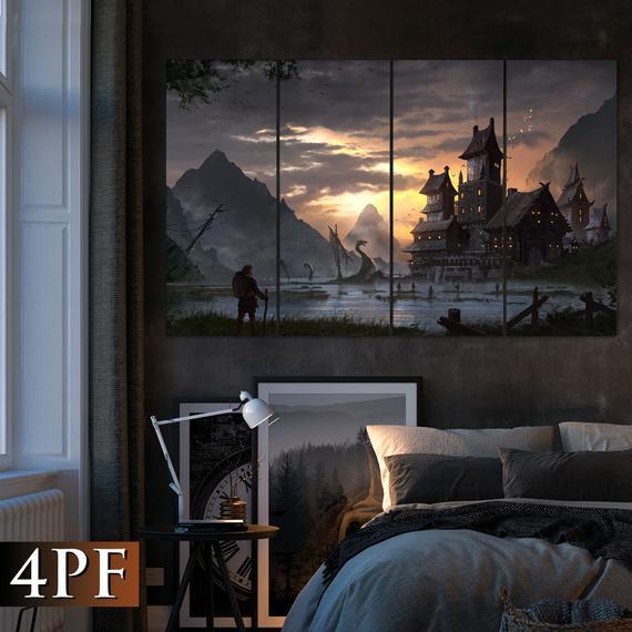 Medieval landscape, vikings art, drakkar wall decor, fantasy