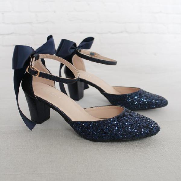 Navy rock glitter block heel con arco de espalda satinado,