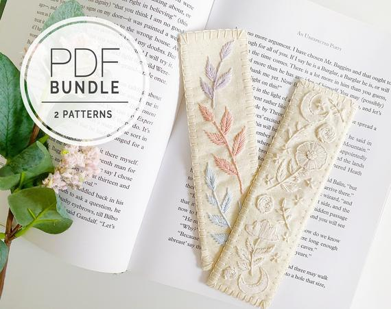 Pdf embroidery pattern ⨯ bookmarks | handmade floral