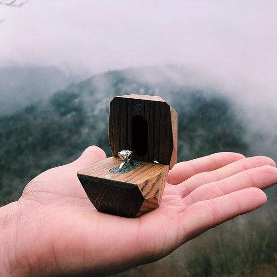Caja de anillos, caja de anillos de madera, caja de anillo
