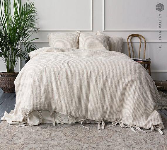 Cubierta de edredón de lino striped - cubierta de edredón-