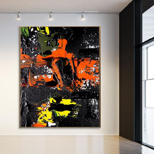 Extra large abstract art on canvas for living room wall