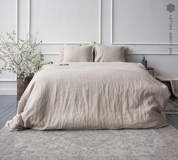 Natural unbleached ropa de cama conjunto de cubierta de