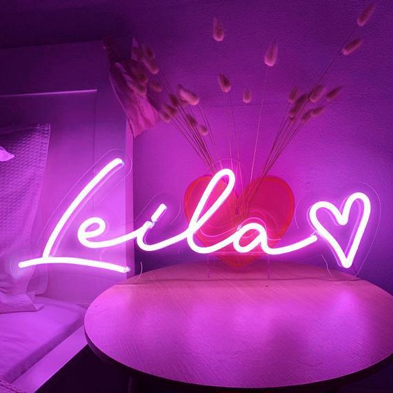 Nombre personalizado neon sign light, neon sign wall art,