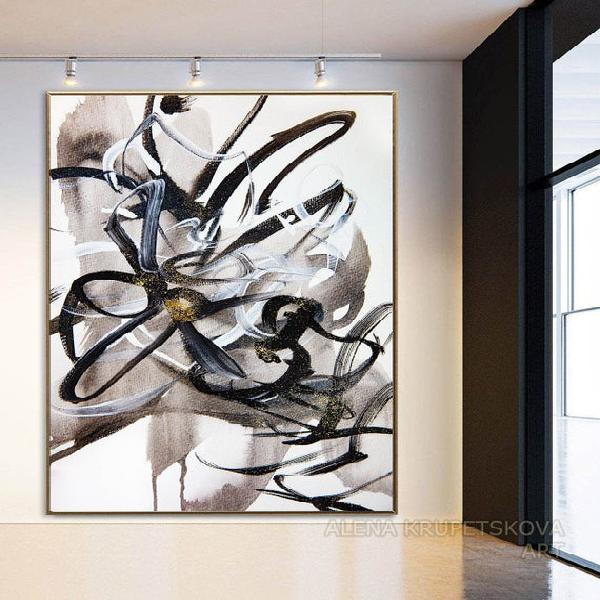 Abstract canvas art elegant large black and white living