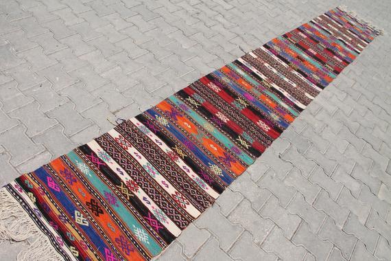 Turkish kilim runner, 2.0 x 13.8 ft rug, stairway runner,