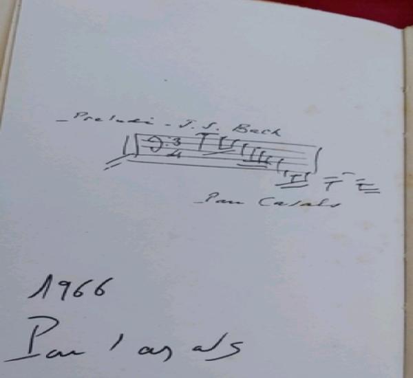 Firma original de pau casals 1966. libro la legende de pablo