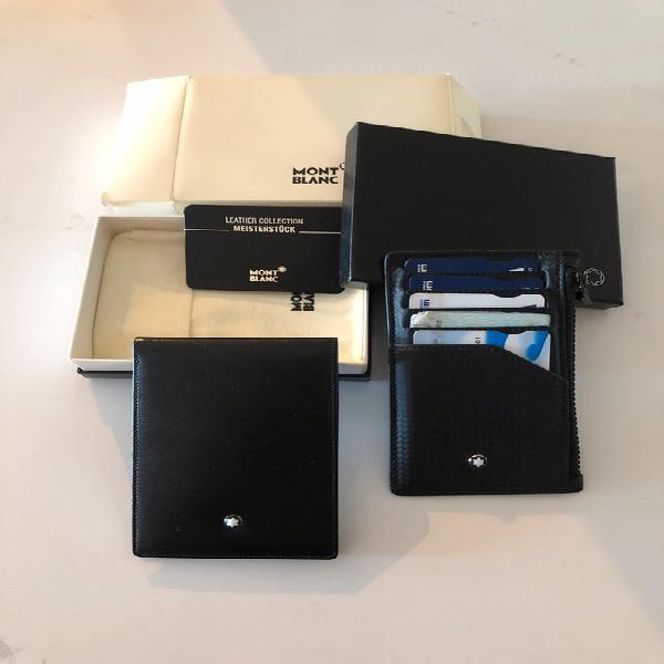 Lot montblanc: 1)bloc note de poche 2) porte carte