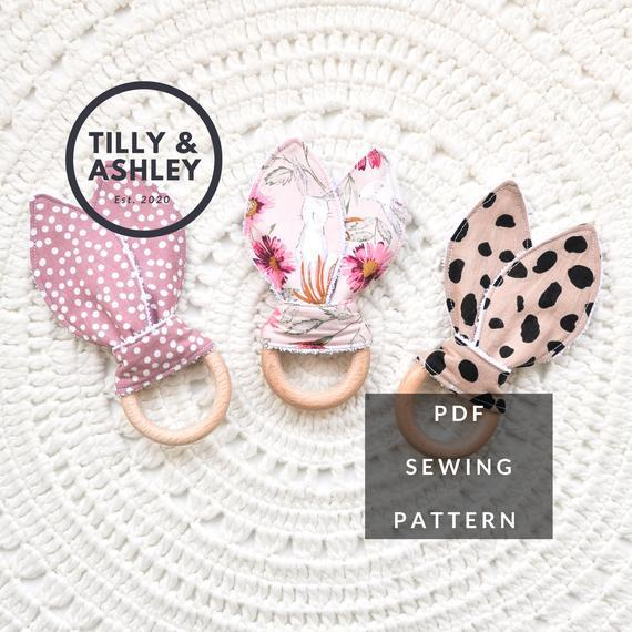 Baby teether rings pdf sewing pattern, bunny ear teething