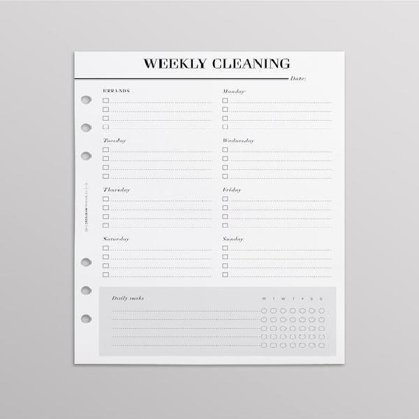 Printed horario semanal de limpieza / lista de verificación