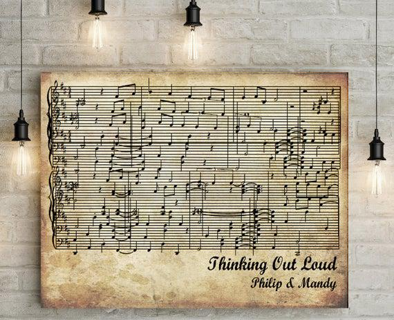 First/ paper anniversary gift personalized music sheet -