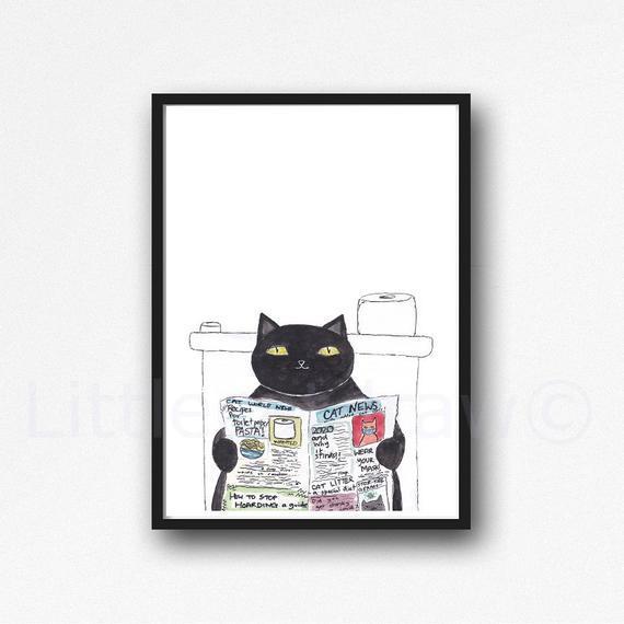 Gato impresión negro gato leer el periódico acuarela