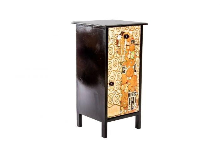 Mueble madera abeto. cajón y una puerta. motivo el beso de