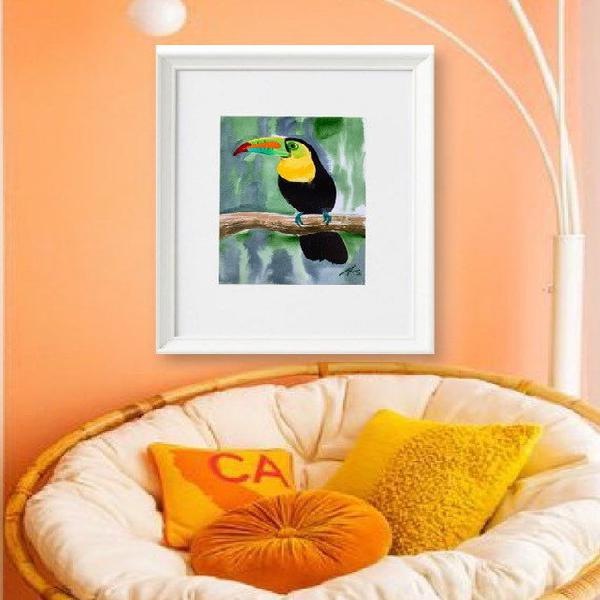Watercolor hand painted bright toucan on the branch. best