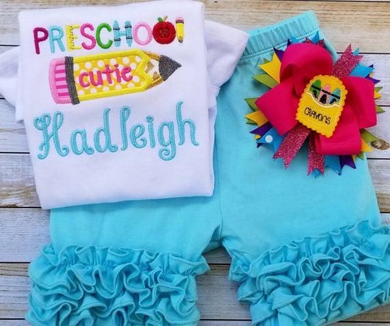 Traje de la escuela para las niñas, camisa preescolar, ropa