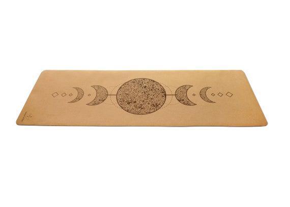 Natural cork estera de yoga- 100% fondo de caucho natural,