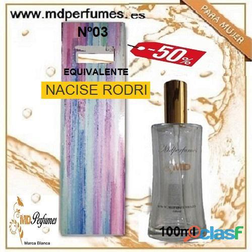 Oferta 10€ Perfume Mujer NACISE RODRI nº03 Alta Gama Equivalente 100ml