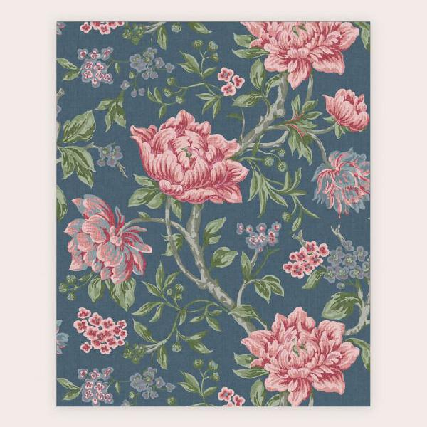 Tela azul de flores rosas grandes tapestry floral