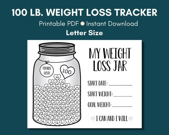100 lb. weight loss tracker. weight loss printable. weight