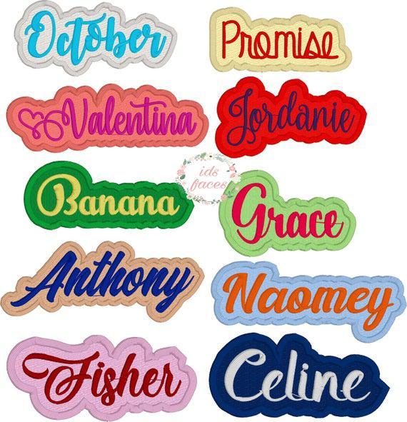 Custom names iron on, iron on name tag, embroidery applique