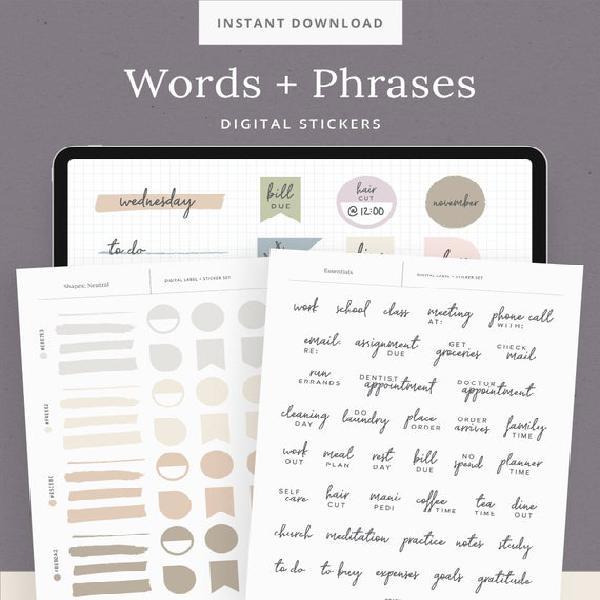 Palabras y frases esenciales pegatinas digitales - libro de