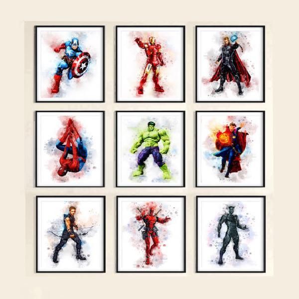 Set 9 superheroes download marvel print superhero avengers