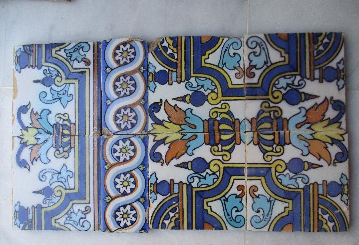 Composicion de azulejos pintados siglo xix triana