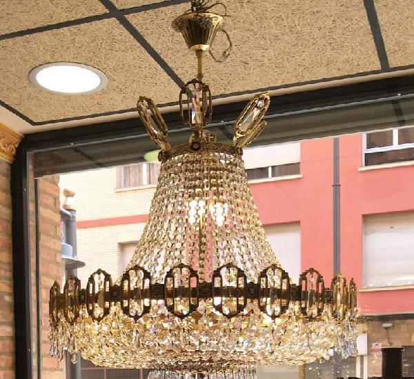 Lámpara estilo imperio de cristal roca y bronce