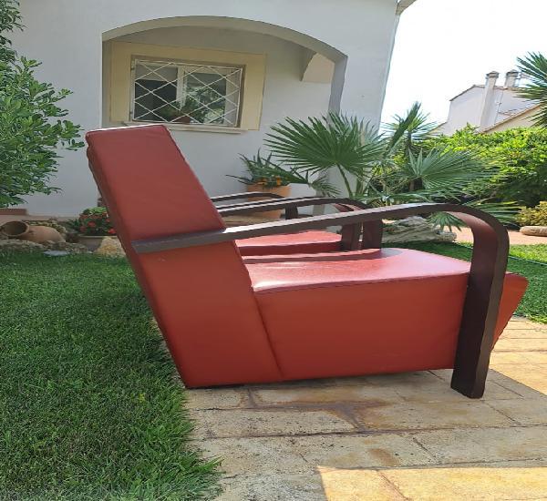 Pareja de sofas diseño polipiel roja