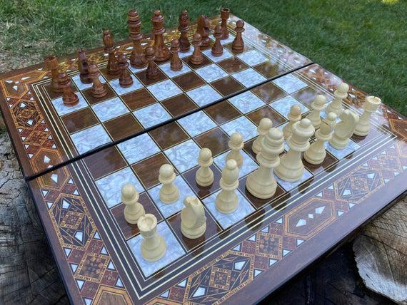 Juego de backgammon de madera, tablero de backgammon con