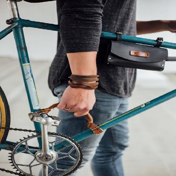 Mango de bicicleta bicicleta cuero marco mango llevando