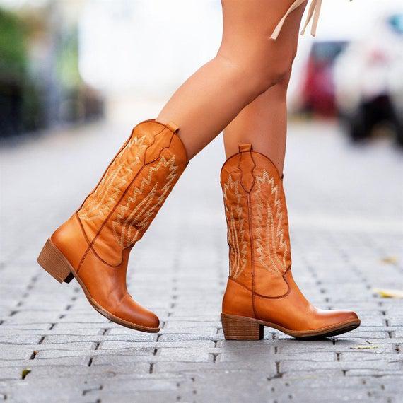 Mujer cuero genuino cowboy botas occidentales / botas