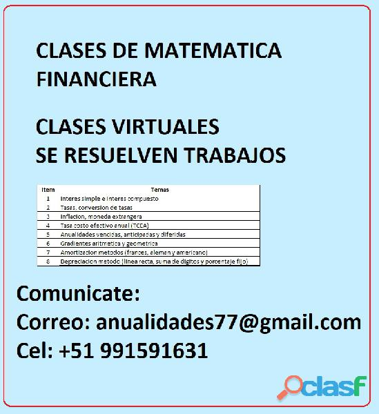 Clases de matematica financiera