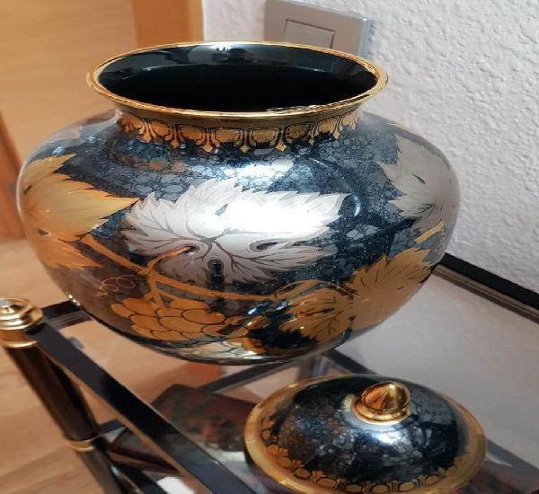 Jarron decoracion de porcelana, precioso, en azul y oro,