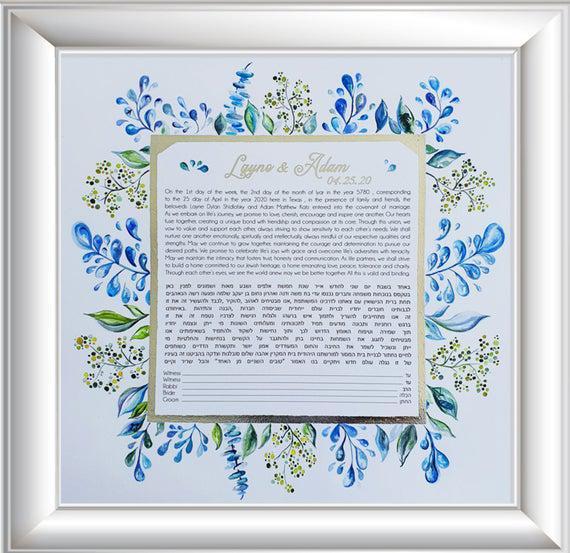 Aqua floral ketubah - original pintado a mano
