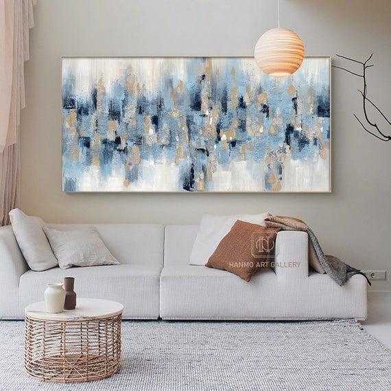 Large blue abstract painting on canvas contemporary painting