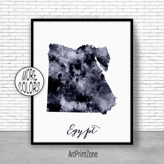 Egipto imprimir acuarela mapa egipto mapa imprimir oficina