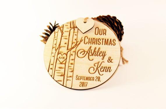 Nuestro adorno de navidad, ornamento recién casado, adorno