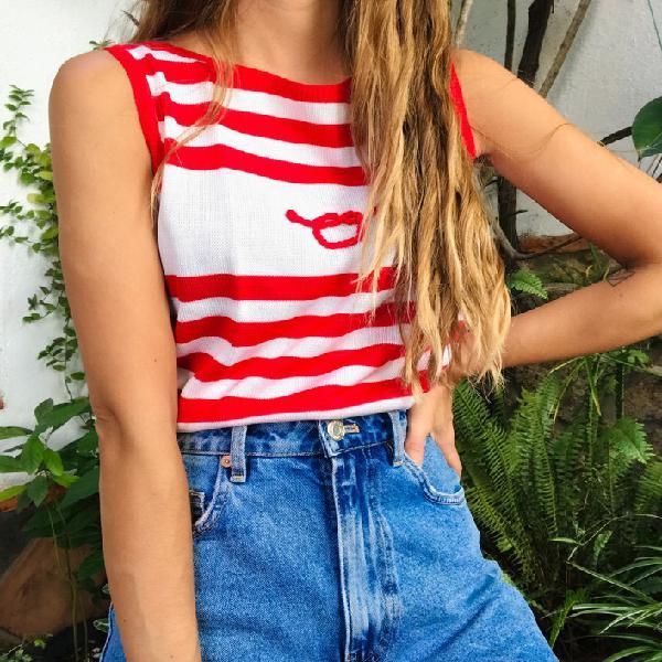 Top de rayas rojas marinero