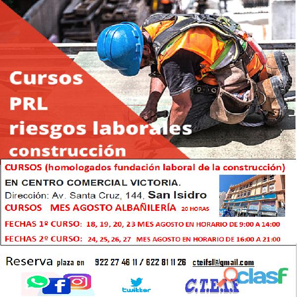Cursos prevención de riesgos laborales en la construcción