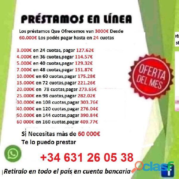 Ofrecemos préstamos whatsapp: +34 631 26 05 38