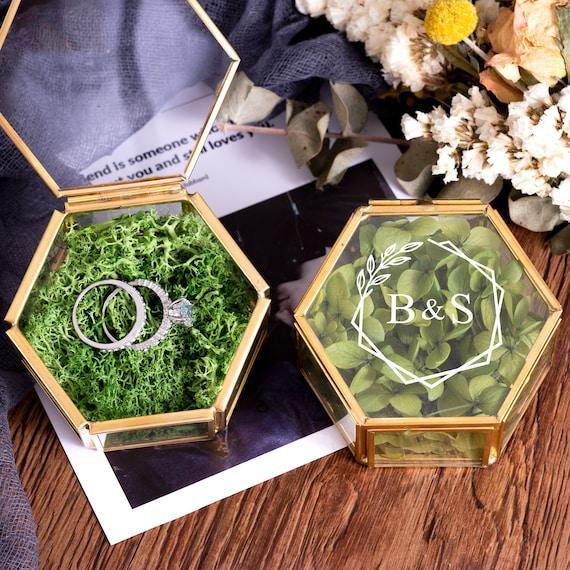 Caja de anillo personalizada, caja de anillo de boda, caja